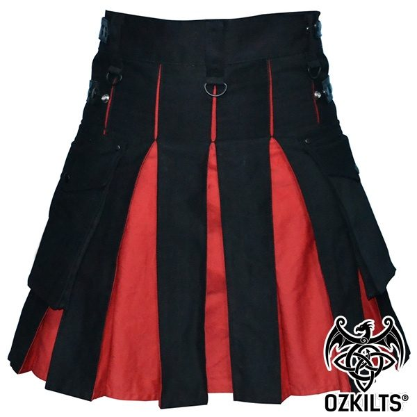 Black and Red Deluxe Kilt Black View