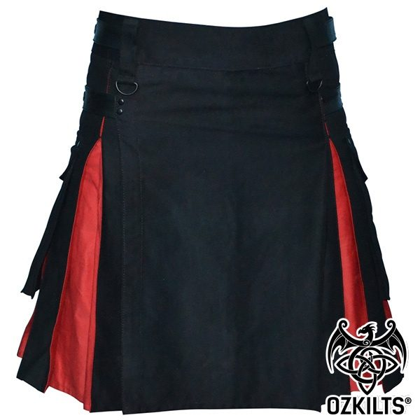 Black and Red Deluxe Kilt Front View