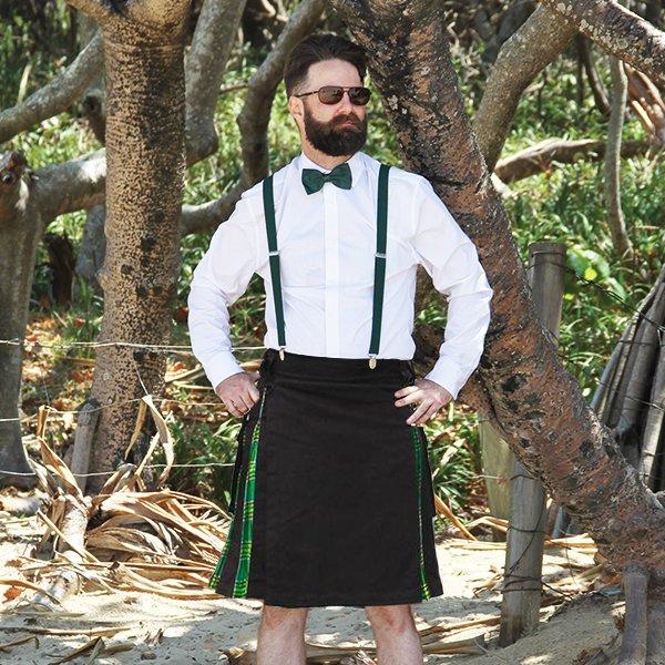 St Patrick's Day Green Tartan Utility Kilt Hero Shot
